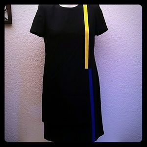 Liz Claiborne vintage black dress yellow stripe 6P